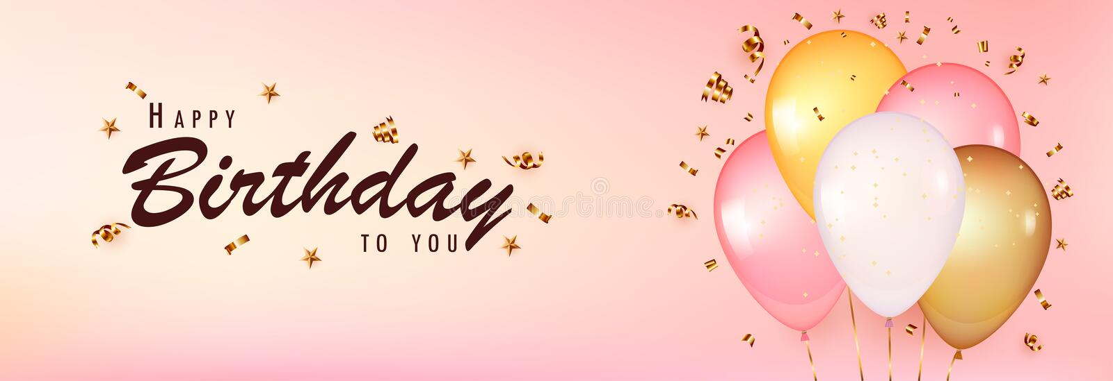 Celebrate birthday template. Pink Background with realistic balloons with gold confetti royalty free illustration