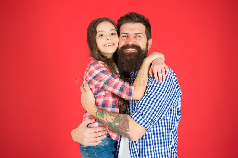 Celebrate fathers day. Family values concept. Family bonds. Friendly relations. Father hipster and his daughter. Successful team. Man bearded father and cute stock photos