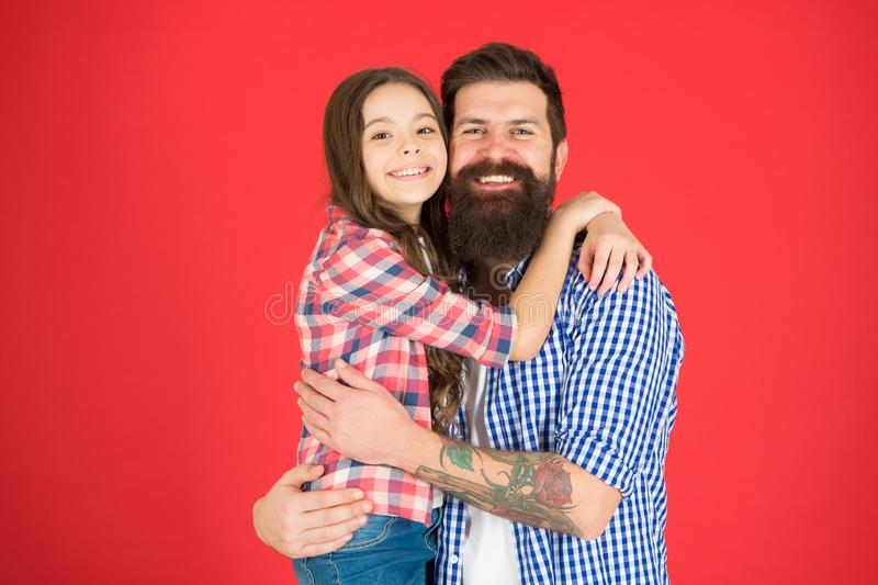 Celebrate fathers day. Family values concept. Family bonds. Friendly relations. Father hipster and his daughter. Happy. Moment. Man bearded father and cute royalty free stock photo