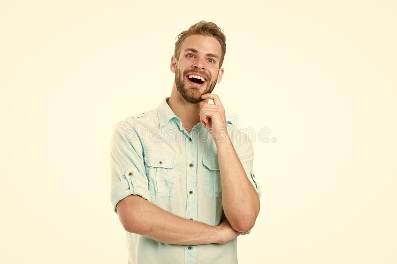 Celebrate good result. Solution for all problems. Find solution. Man with bristle smiling face white background. Guy stock image