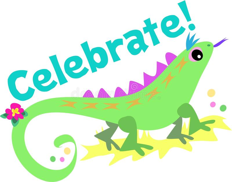 Download Celebrate With Green Lizard Stock Vector - Image: 10656548