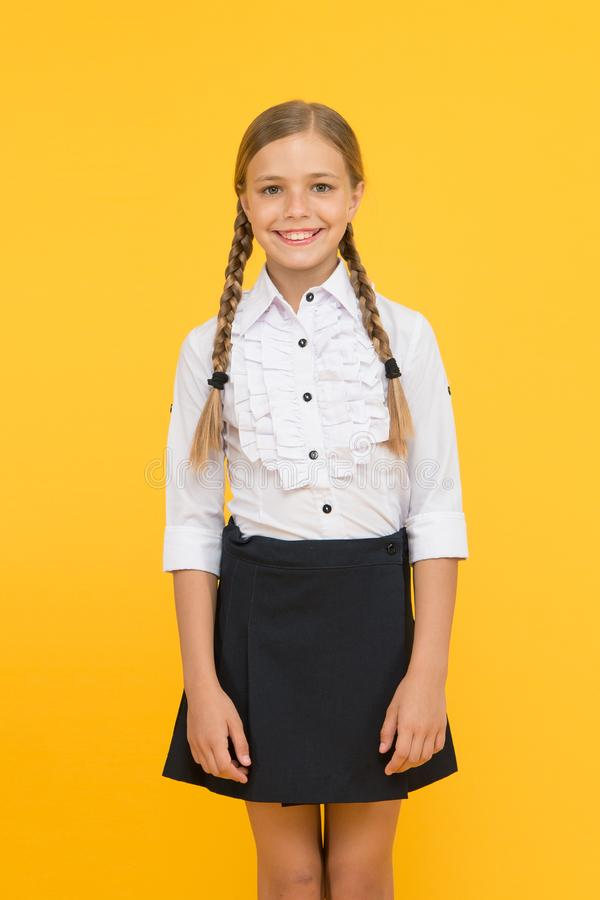 Celebrate knowledge day. Student little kid adores school. Emotional schoolgirl. September time to study. Girl adorable stock images