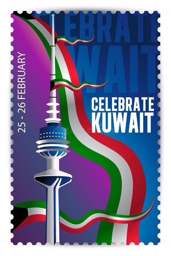 Celebrate Kuwait - Liberalisierungsturm und Flaggenstempel stock abbildung