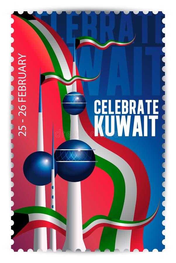 Celebrate Kuwait - Kuwait Towers Landmark vektor abbildung