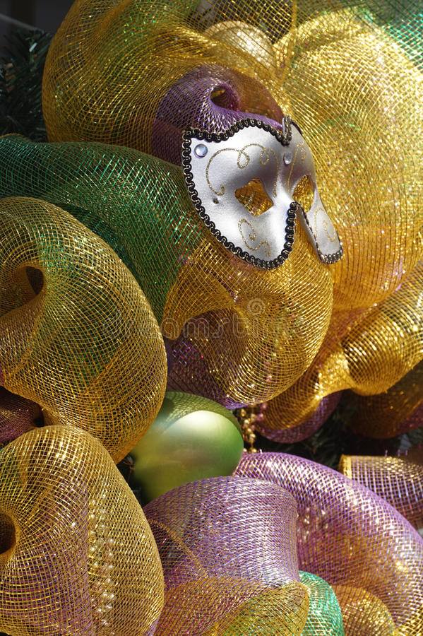 Celebrate. Mardi Gras party mask and decoration in New Orleans, Louisiana, 2015 stock photo