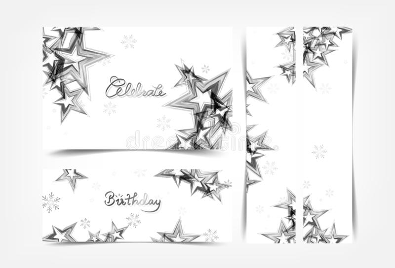 Celebrate, silver stars decoration banners, Christmas winter parties holiday, gift voucher and sales festival concept collection royalty free illustration
