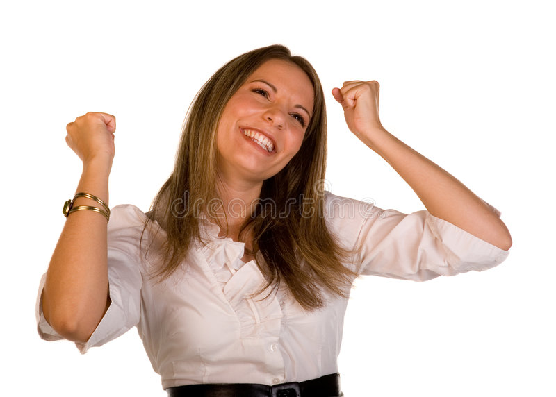 Celebrate Success. Closeup of Woman Celebrating success with emotion stock image