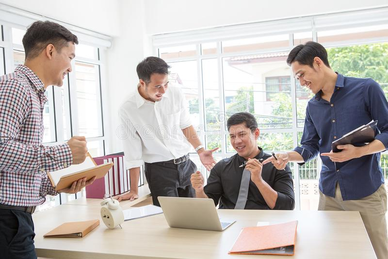 Celebrate success. Business team celebrate a good job in the off stock image