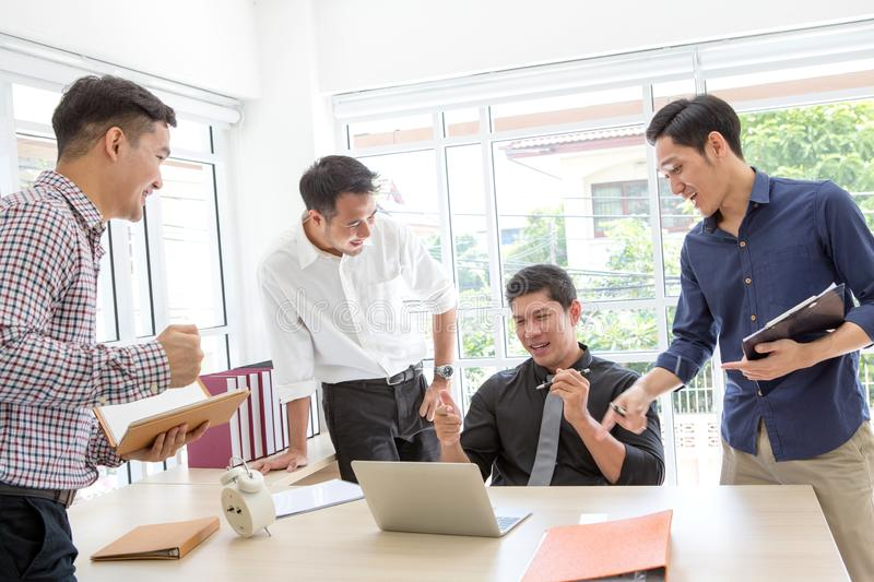 Celebrate success. Business team celebrate a good job in the off royalty free stock photos