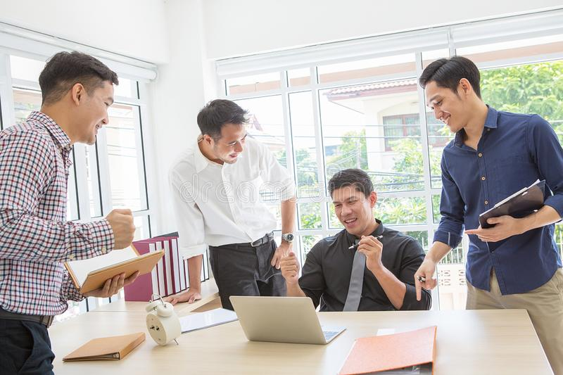 Celebrate success. Business team celebrate a good job in the off stock images