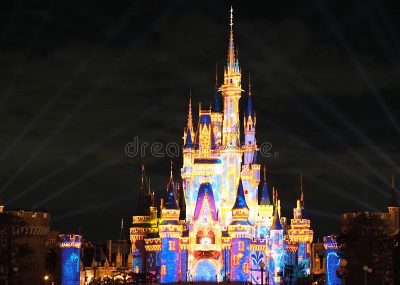 Celebrate! Tokyo Disneyland Show 2018. Celebrate! Tokyo Disneyland Show at Cinderella castle. In this nighttime spectacular, a magical spell is cast on royalty free stock image