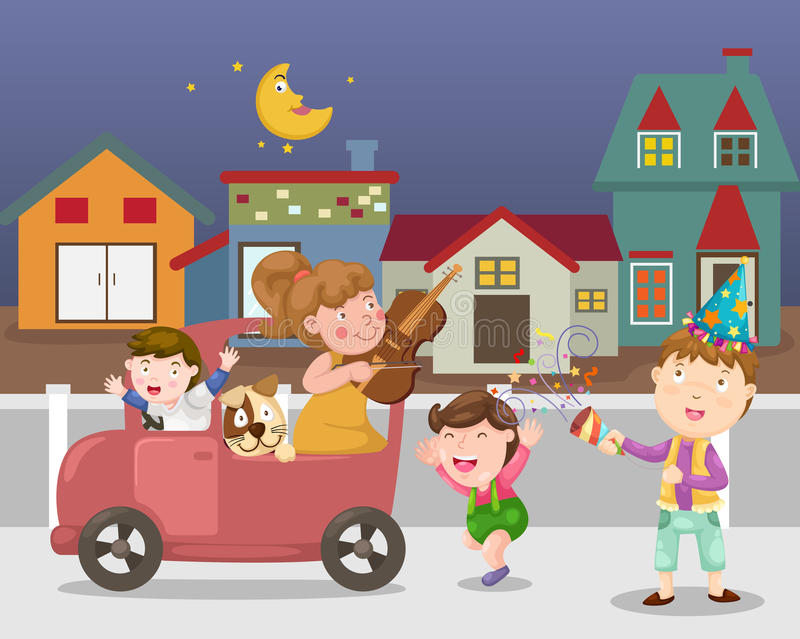 Celebrate town street vector royalty free illustration