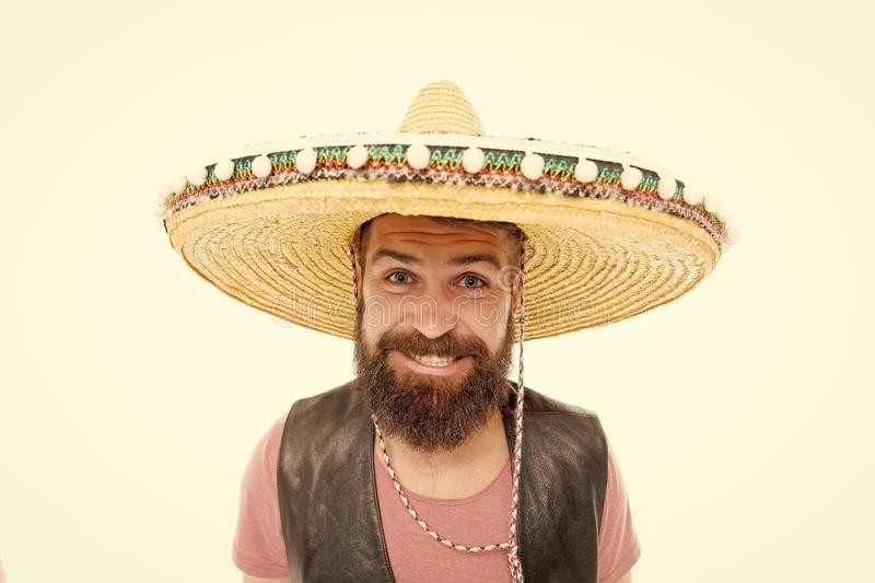 Celebrate traditional mexican holiday. Mexican party concept. Guy happy cheerful festive outfit ready to celebrate. Man stock photography