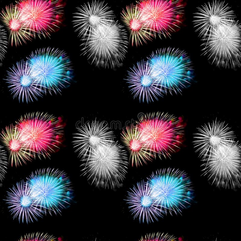 Seamless Repeat Fireworks 4th of July stock photos