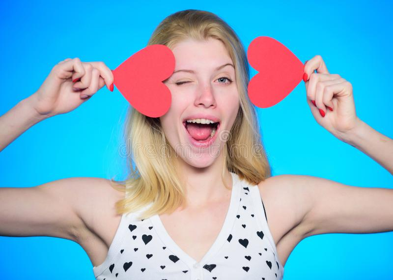 Celebrate valentines day. Crazy in love. Girl romantic mood dream about date. Love and romance. Woman cheerful girl hold royalty free stock image