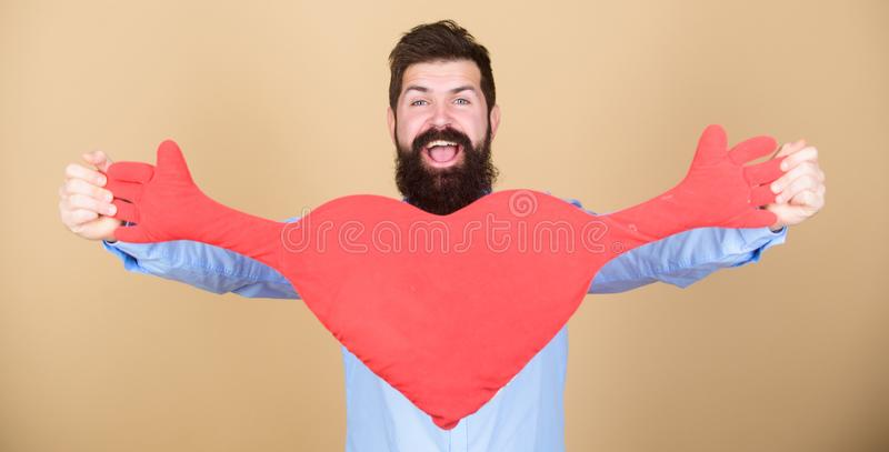 Celebrate valentines day. Guy with beard and mustache in love romantic mood. Feeling love. Dating and relations concept. Happy in love. Make him feel loved stock images