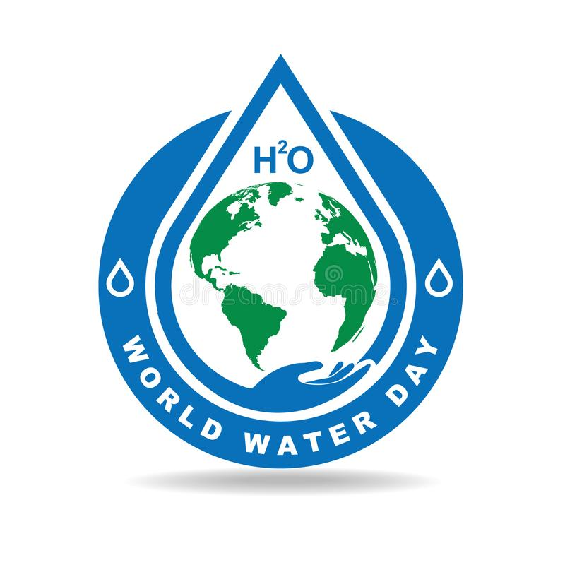 Earth and drop water badge vector illustration