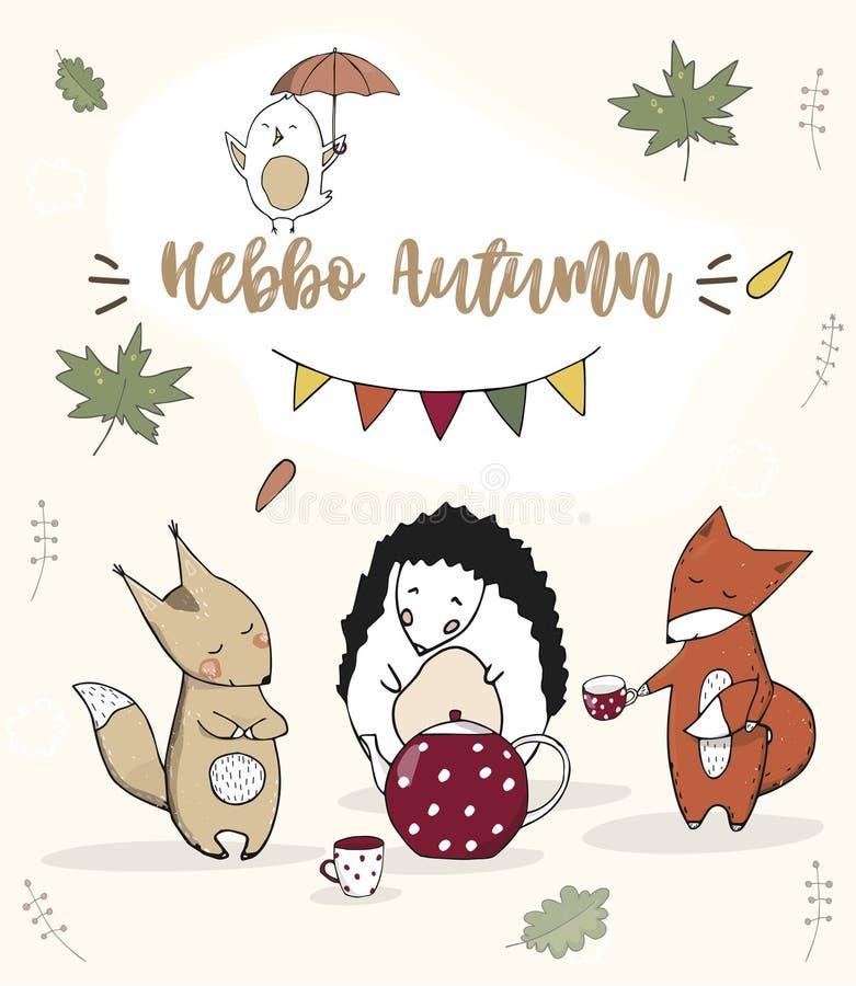 Celebrati sveglio della carta del cane del gatto del testo della fauna selvatica di autunno della foresta di vettore di clipart d illustrazione di stock