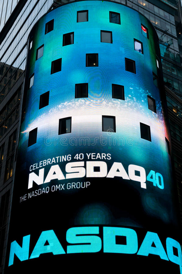 Celebrating 40 years of NASDAQ. Billboard at the Times Square in NYC celebrating 40th anniversary of NASDAQ stock market stock image