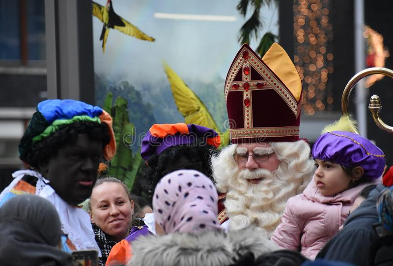 Celebrating the arrival of Dutch Saint Nicholas. royalty free stock photos