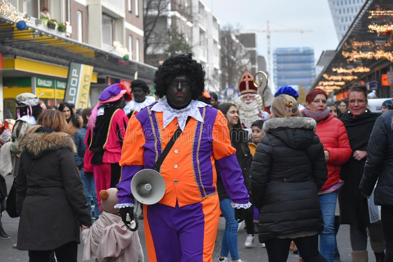 Celebrating the arrival of Dutch Saint Nicholas. stock photo