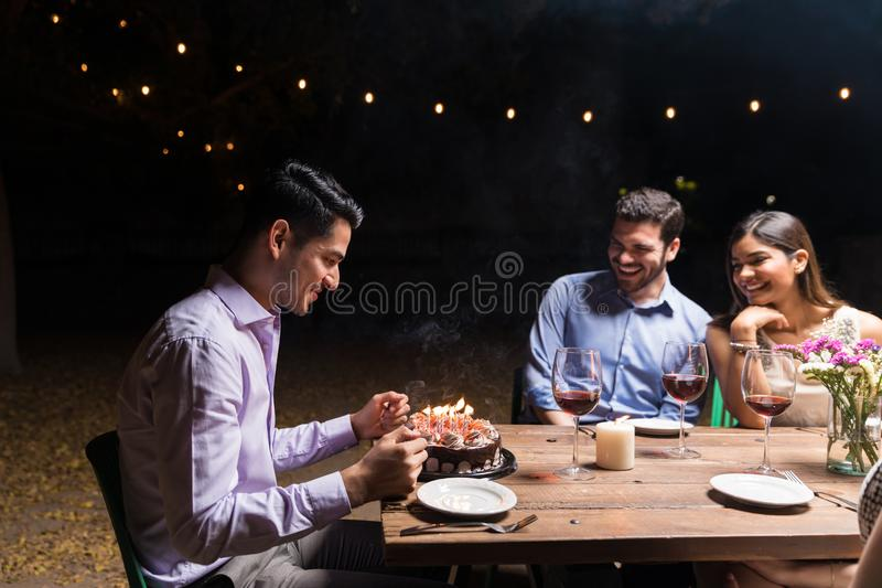 Celebrating Birthday With Best Friends royalty free stock image