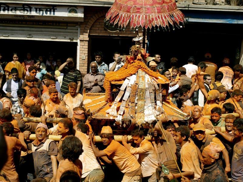 Celebrating Bisket Jatra stock images