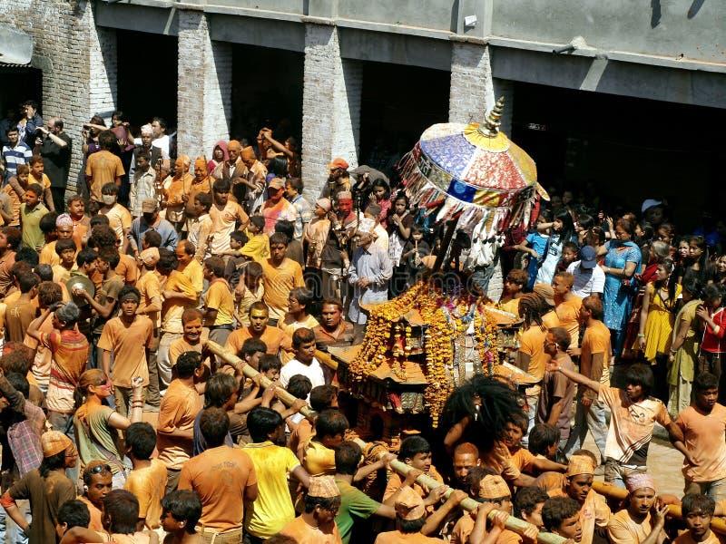 Celebrating 'Bisket Jatra' royalty free stock photo