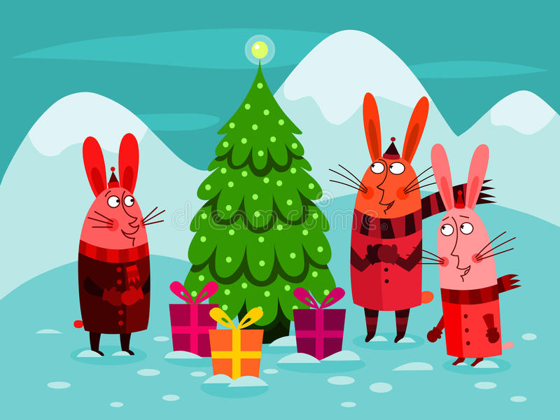 Celebrating Christmas. Illustration of three funny rabbits standing in awe in front of a Christmas tree stock illustration