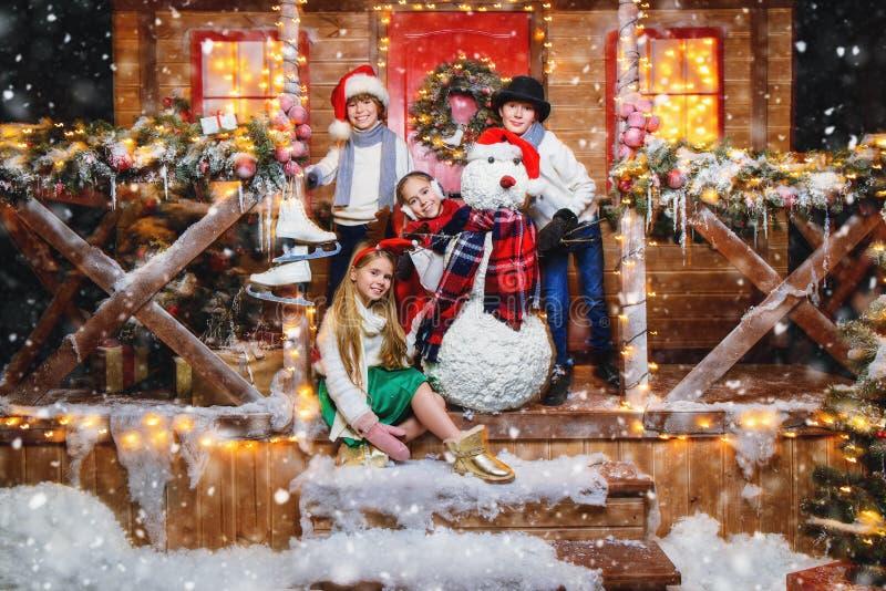 Celebrating christmas in yard stock photography