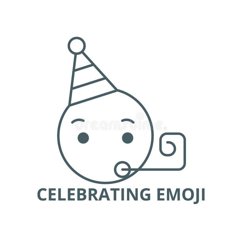 Celebrating emoji line icon, vector. Celebrating emoji outline sign, concept symbol, flat illustration. Celebrating emoji line icon, vector. Celebrating emoji royalty free illustration