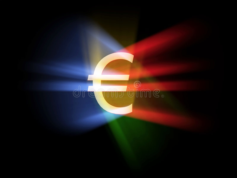 Celebrating EURO. Euro sign in the middle, various colour lights, white background vector illustration