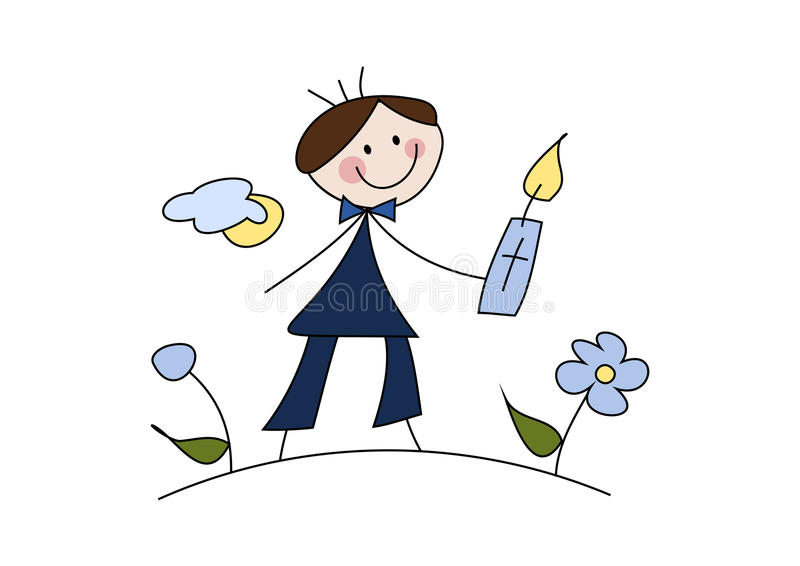 Celebrating first communion. Colorful cartoon (doodle) illustration of a happy little boy celebrating his first (holy) communion stock illustration