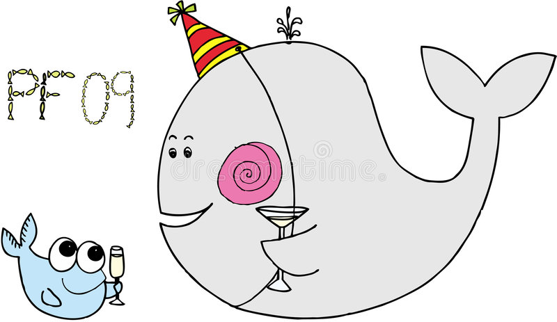 Celebrating fish - pf 09. Celebrating big whale and little fish on white background. vector image royalty free illustration