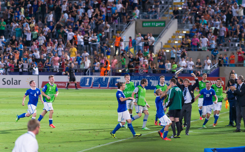 Download Celebrating a goal editorial stock photo. Image of italian - 31438978