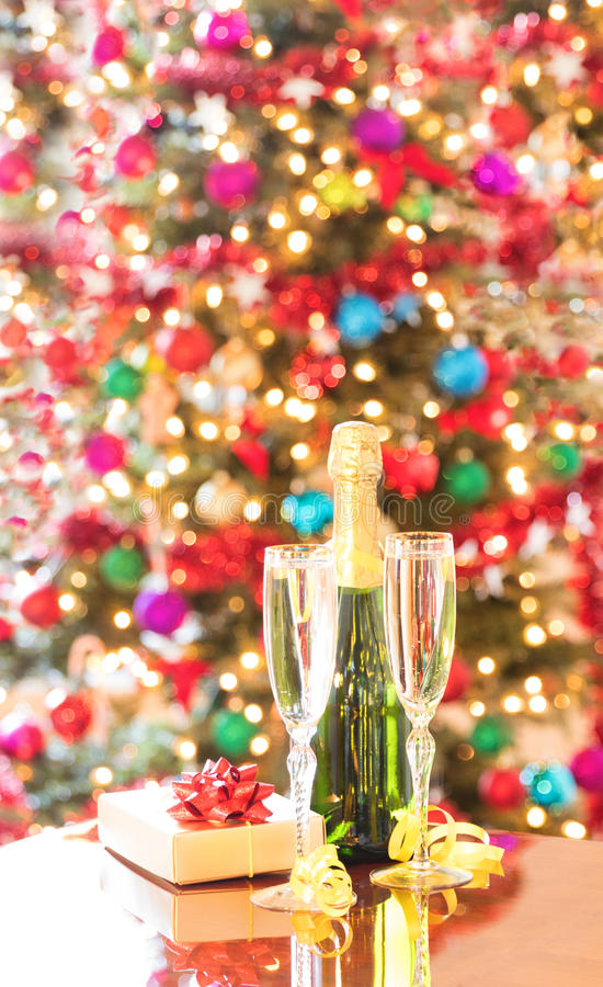 Celebrating the holiday season with champagne royalty free stock image