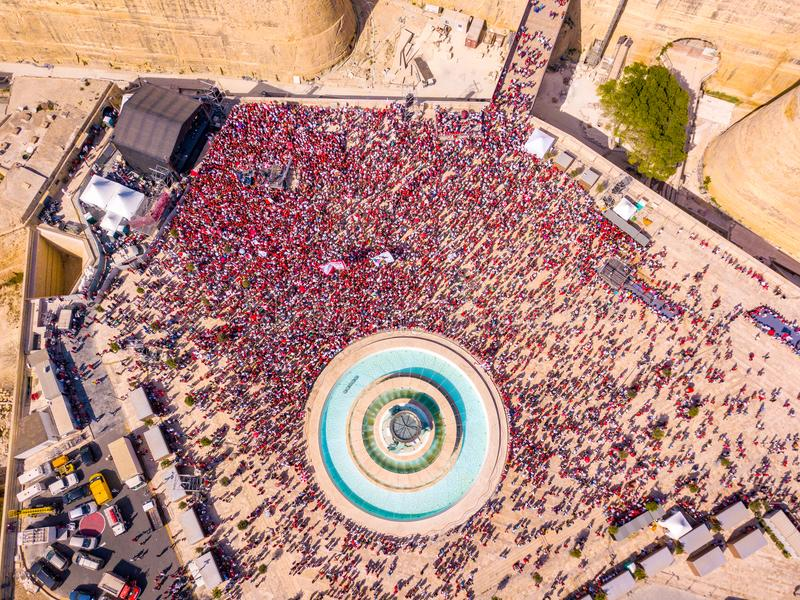 Celebrating labour day in Valletta, Malta. Aerial view on the people crowd celebrating workers day on the 1st of May stock image