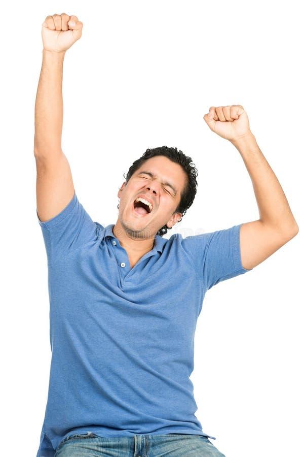 Download Celebrating Latino Man Arms Raised Eyes Closed Stock Image - Image of eyes, jeans: 59276097
