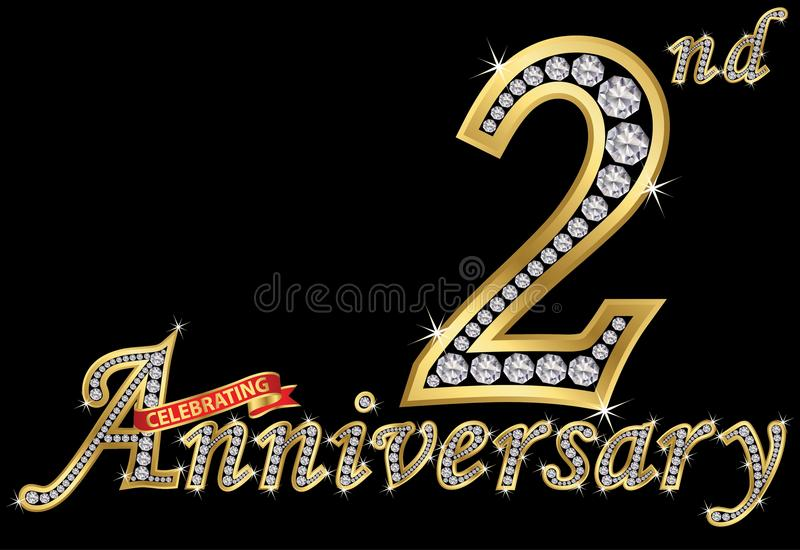Celebrating 2nd anniversary golden sign with diamonds, vector i. Llustration royalty free illustration