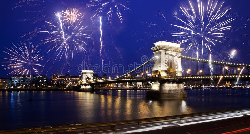 celebrating New Year in the city - Chain bridge with fireworks over the Danube, Budapest, Hungary royalty free stock photo