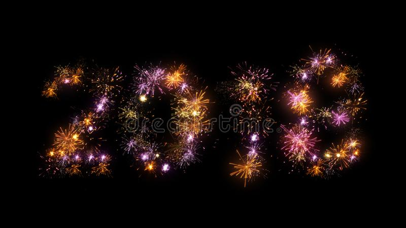 Celebrating 2018 new year lots of colorful fireworks bursts. Celebrating 2018 new year. Computer generated lots of colorful fireworks bursts royalty free illustration