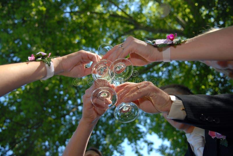 Celebrating the newly marriaged stock photo