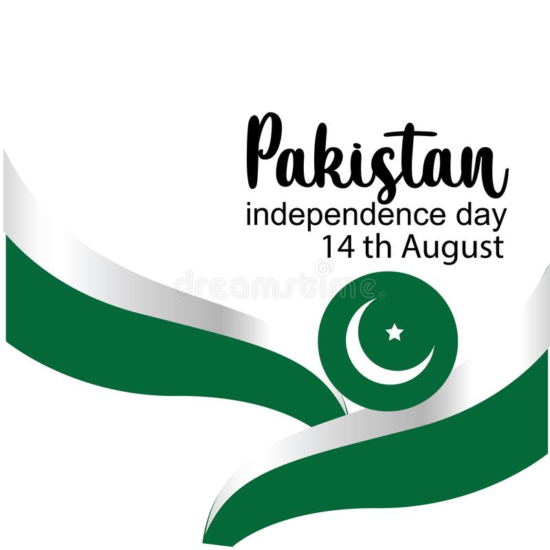 Celebrating Pakistan Independence Day creative vector illustration. 14th August pakistan independence. vector. Background flag white abstract celebration card stock illustration