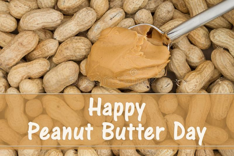 Celebrating peanut butter day with shelled nuts stock images