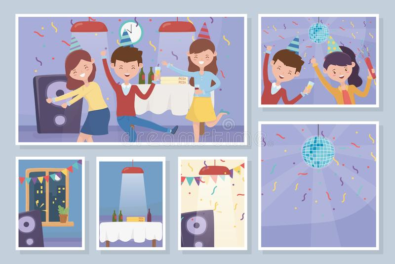 Celebrating people dance drinking celebration party pictures stock illustration