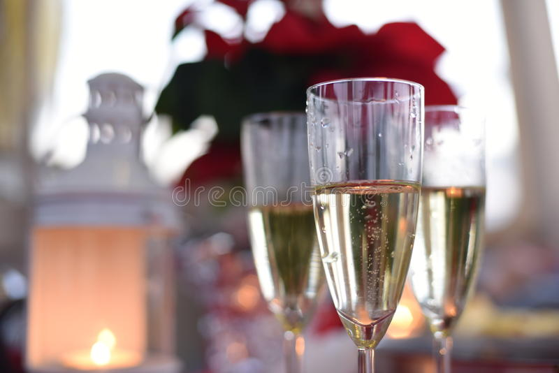 Celebrating with prosecco stock photo