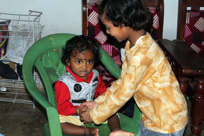 Celebrating Raksha Bandhan in india stock image