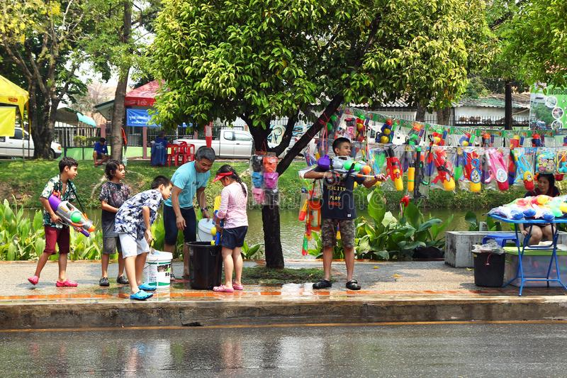 Celebrating Songkran Thai New Year by Thai people on a street. Water Festival - one of the most popular holidays in Thailand. Chiang Mai, Thailand - April 12 royalty free stock photos