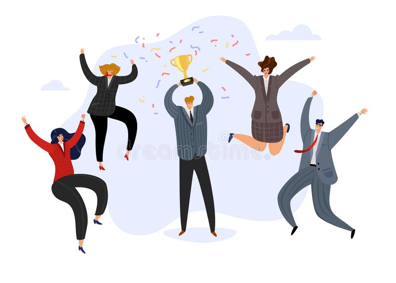Celebrating team. Businessman holding prize winning trophy cup and happy jumping cheerful team. Business achievement vector illustration