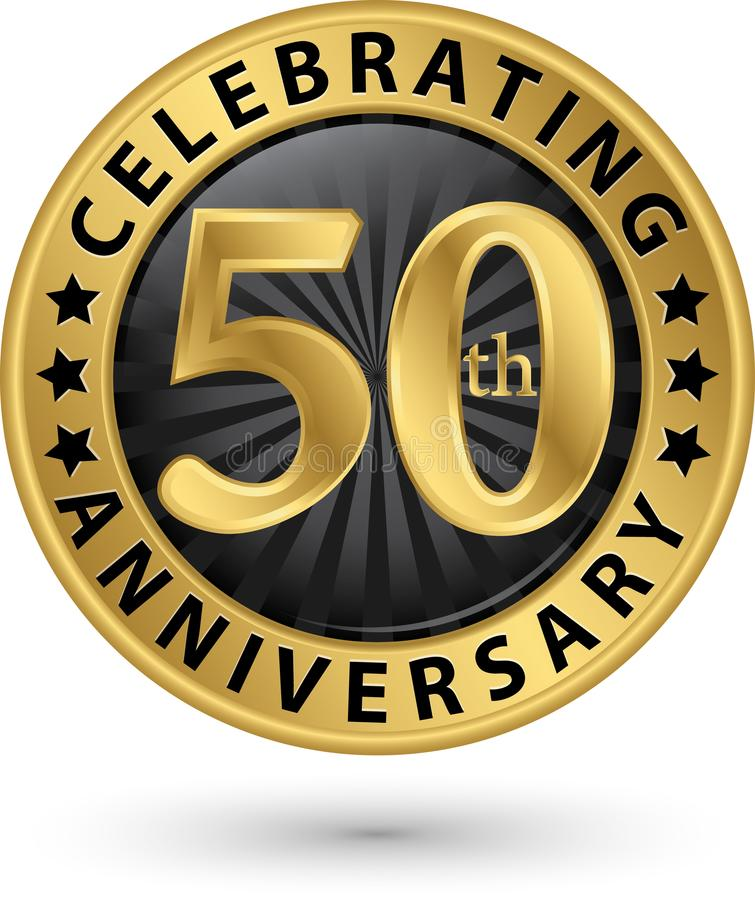 Celebrating 50th years anniversary gold label, vector stock illustration